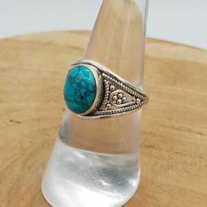 Zilveren ring gezet met ovale Turkoois 17.3 mm