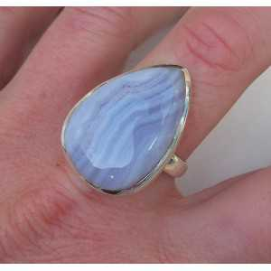Silver ring set with blue Lace Agate ring size 19.3 mm