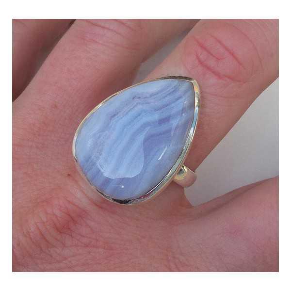 Silber ring mit blauen Spitze-Achat-ring-Größe 19.3 mm