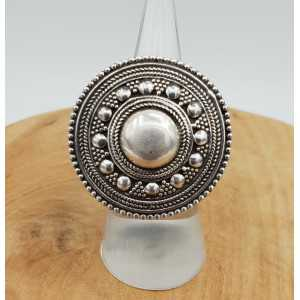 Silver ring with large round machined head adjustable