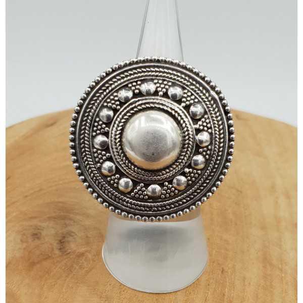 Silber ring mit großen Runden bearbeiteten Kopf verstellbar