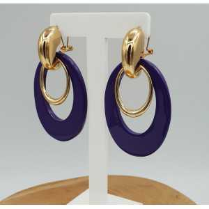 Gold creoles with purple buffalo horn pendant