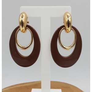 Gold creoles with brown buffalo horn pendant