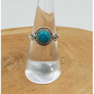 Zilveren ring met ronde Turkoois 16.5 mm