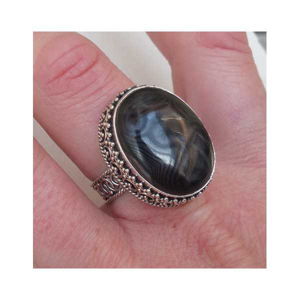Silber ring mit Psilomelaan editiert Einstellung 18 mm