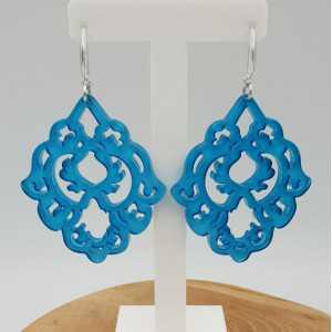Earrings with blue resin pendant