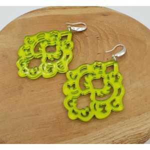 Oorbellen met appeltjes groene resin hanger