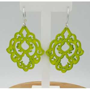 Earrings with apple green resin pendant