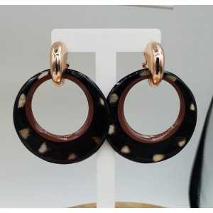 Creoles with ring of buffalo horn puma print and painted border