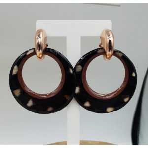 Kreolen mit ring von Büffelhorn puma-print und lackierten Grenze