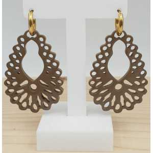 Creoles with beige brown carved buffalo horn