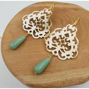Ohrringe mit Amazonit und carved buffalo horn