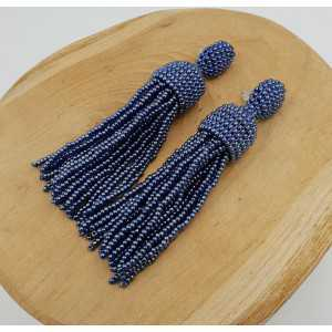 Metallic-blau Quaste Ohrringe