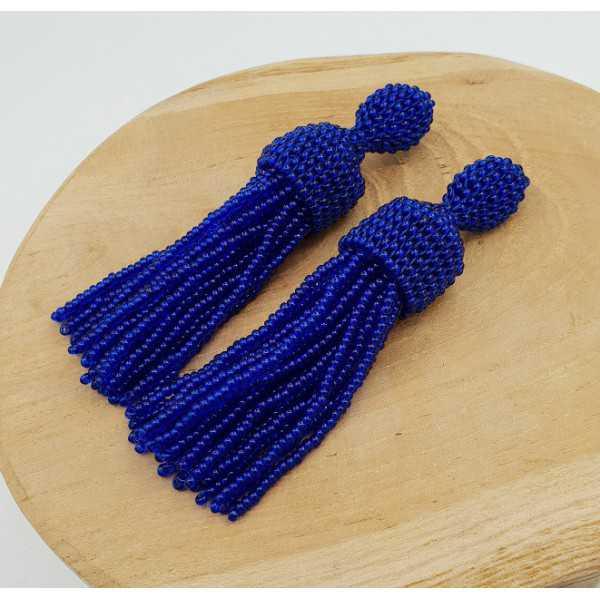Kobalt-blau Quaste Ohrringe