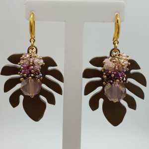 Gold plated earrings with crystals and leaf of buffalo horn