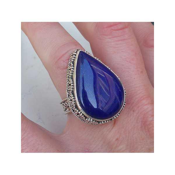 Silver ring oval shape Lapis Lazuli edited setting 17 mm