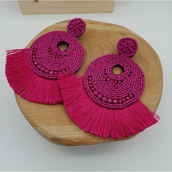 Grote fuchsia roze beaded oorbellen