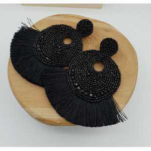 Grote zwart beaded oorbellen