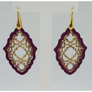 Goud vergulde oorbellen met paars met gouden resin hanger