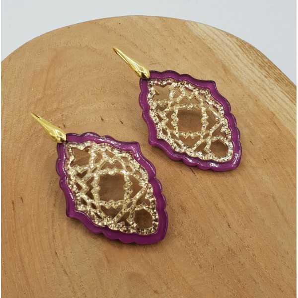 Vergoldete Ohrringe mit lila mit gold-Harz-Anhänger
