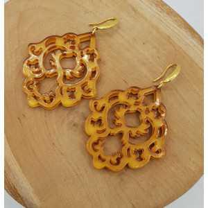 Ohrringe mit ocker-gelben Harz-Anhänger