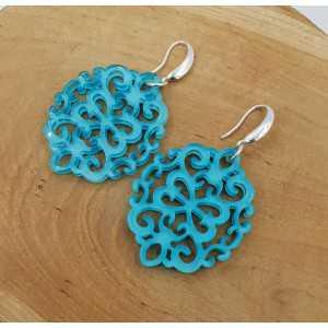 Oorbellen blauwe resin hanger