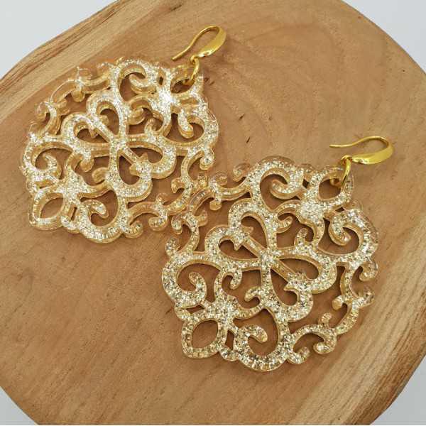 Vergoldete Ohrringe mit großen gold-Harz-Anhänger