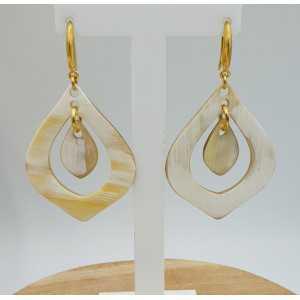 Earrings with buffalo horn