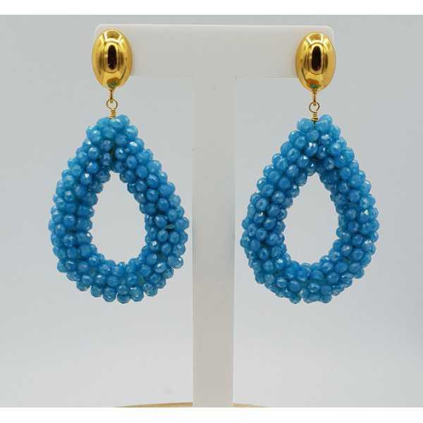 Goud vergulde glassberry braam oorbellen open druppel blauwe kristallen