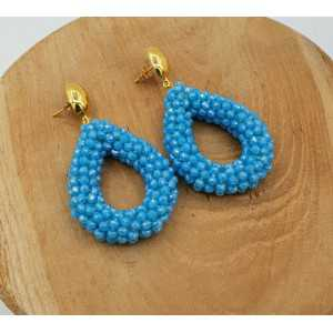 Gold plated glassberry blackberry earrings open drop blue crystals