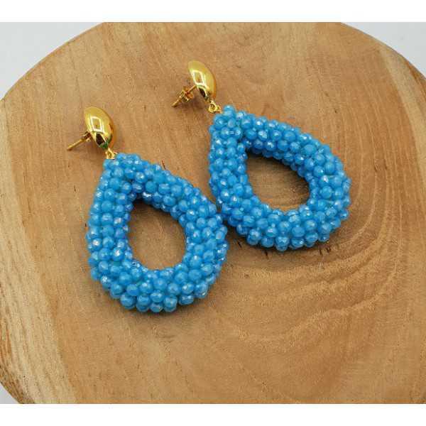 Vergoldete glassberry blackberry Ohrringe öffnen drop-Blaue Kristalle