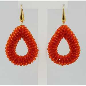 Goud vergulde glassberry braam oorbellen open druppel oranje kristallen