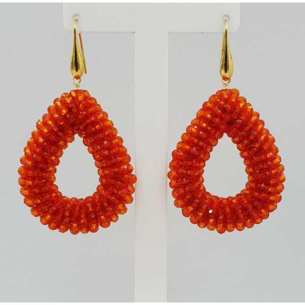 Gold plated glassberry blackberry earrings open drop orange crystals