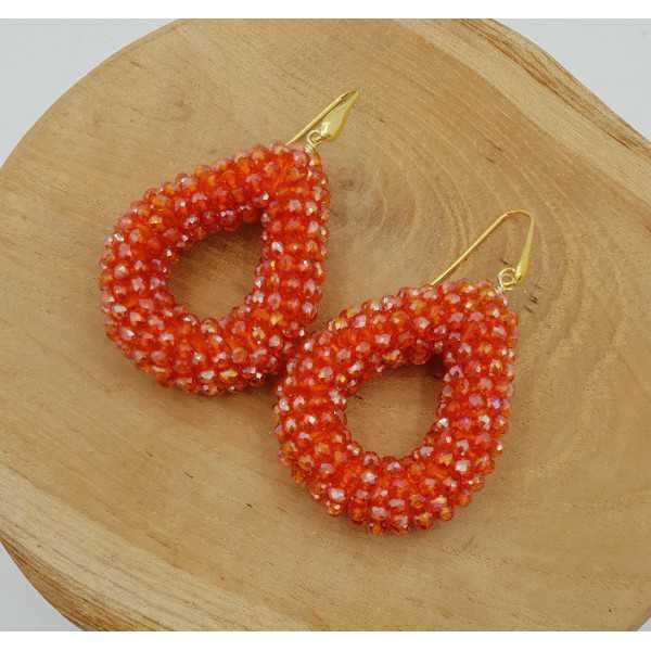 Goud vergulde glassberry braam oorbellen open druppel oranje sprankling kristallen