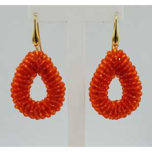 Gold plated glassberry blackberry earrings open drop of orange crystals small