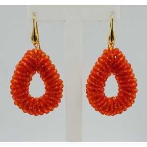 Goud vergulde glassberry braam oorbellen open druppel oranje kristallen small