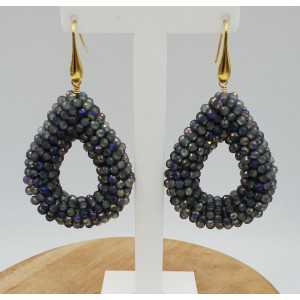Gold plated earrings open drop of sprankling grey crystals