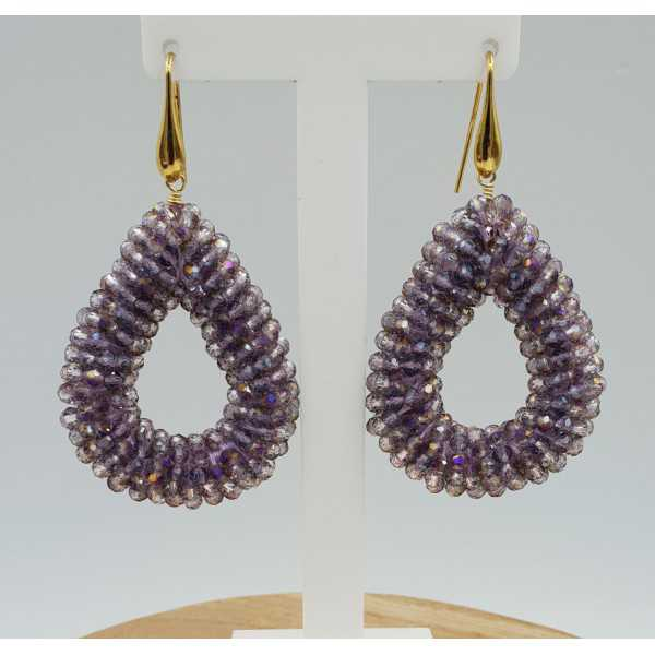 Gold plated earrings with open drop of sprankling purple crystals