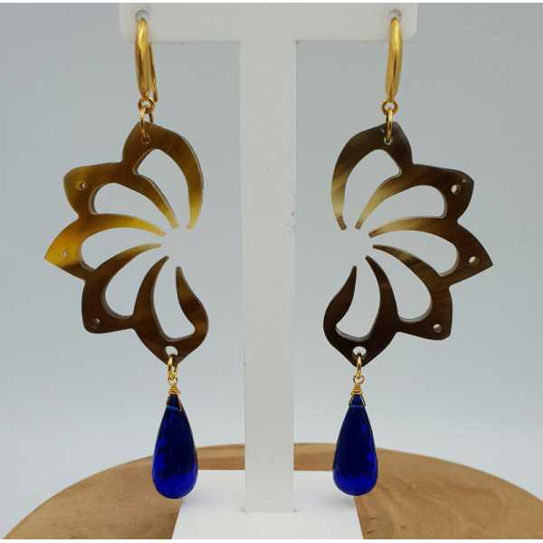 Earrings with buffalo horn and Sapphire blue quartz briolet