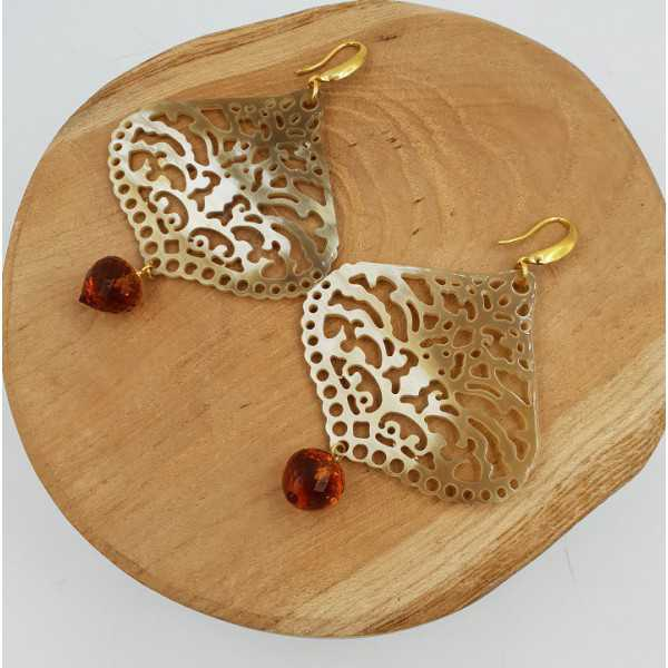 Earrings with buffalo horn and Citrine quartz drop