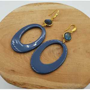 Gold plated earrings with blue lacquered buffalo horn and Labradorite