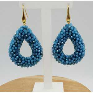 Gold plated blackberry glassberrry earrings open drop blue crystals