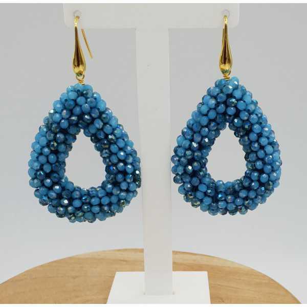 Goud vergulde braam glassberrry oorbellen open druppel blauwe kristallen