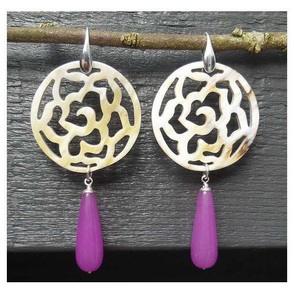 Silber Ohrringe mit geschnitzten Büffel-horn und lila Jade