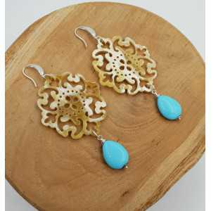 Earrings with buffalo horn and Turquoise
