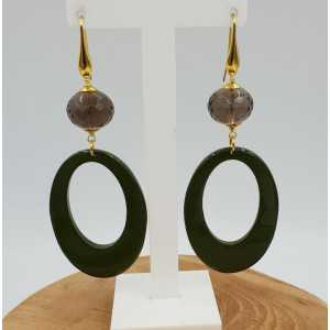 Gold plated earrings with green lacquered buffalo horn and Smokey Topaz
