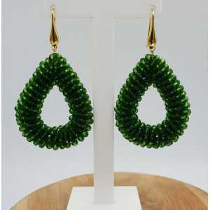 Goud vergulde braam glassberry oorbellen open druppel groene kristallen