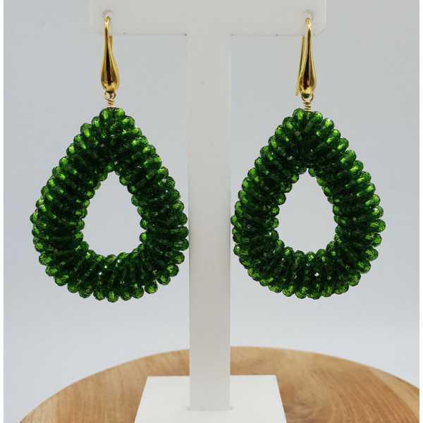 Vergoldete blackberry glassberry Ohrringe öffnen drop-grüne Kristalle