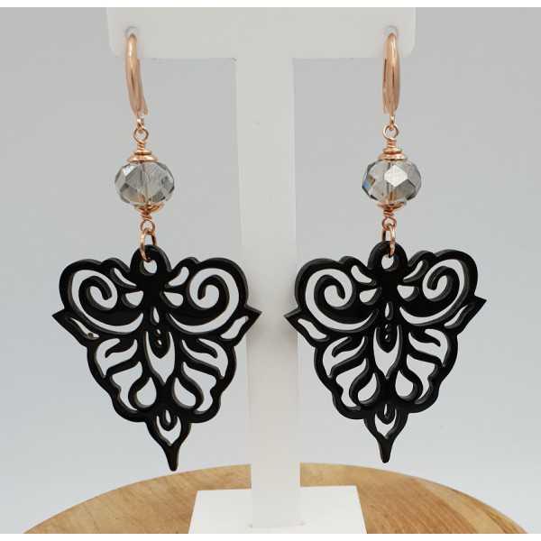 Earrings with black buffalo horn and grey crystal