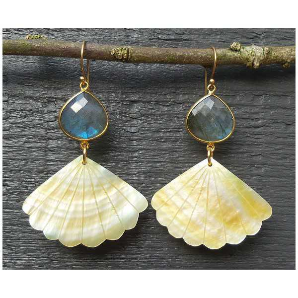 Gold plated earrings with Labradorite and range-of-Pearl